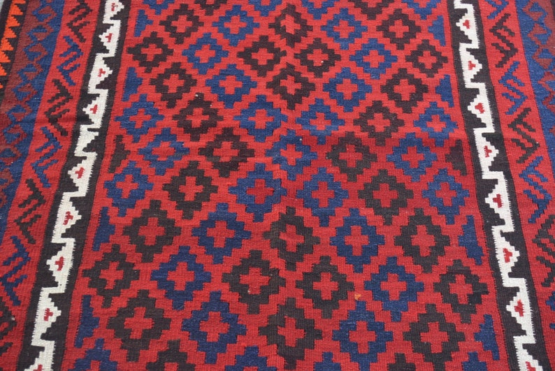 Free Shipping Area kilim rug Flat weave Afghan Tribal kilim rug Traditional handwoven maimana kilim 4/'0 x 7/'1 ft.