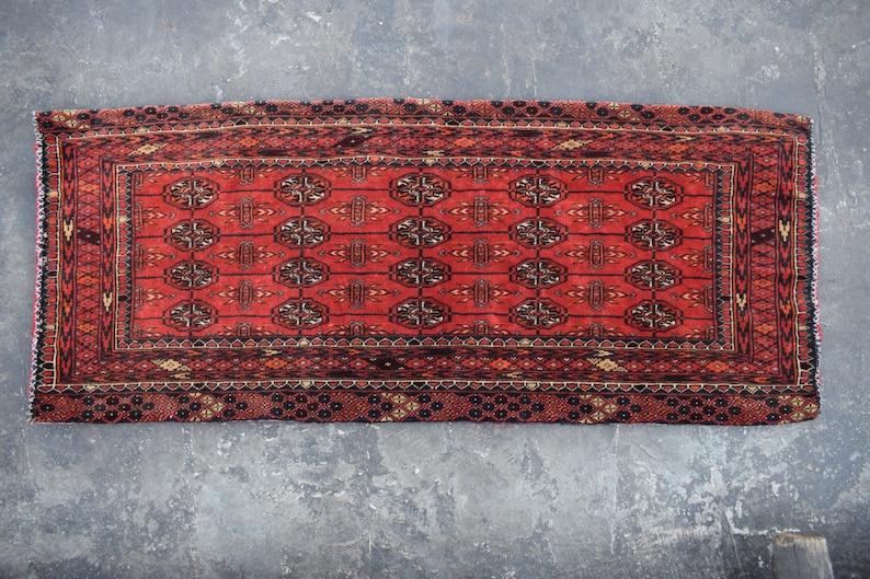 big rug cushion 4/'2 x 1/'9 ft. FREE SHIPPING Vintage Afghan Turkman tribal balisht