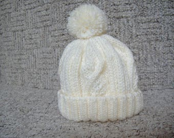 Baby Bobble Hat boys or girls age 3 to 6 months, Hand Knitted  Cream Aran pattern