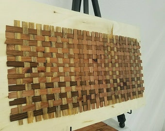 "Reclaimed redwood and pine 3/4"" weave/wall art"