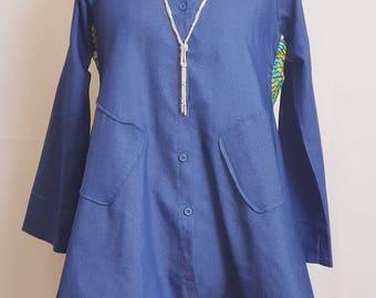 Elegant Denim Dipped Hem Shirt Dress Fused with Ankara Fabric