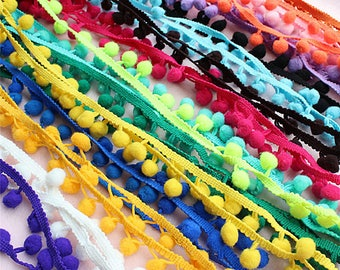 Blue//Pink, 3 Accessories Attic Mini Small Pastel Fluorescent Colour Combination Colourful Pom Pom Trim Trimming Sewing Craft Per Metre Bobble Fringe Pompom Quality UK