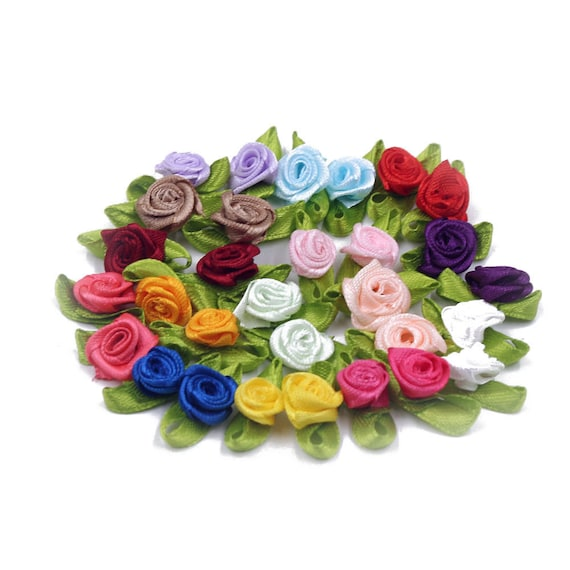 Small Mini Satin Ribbon Rose Buds Flowers With Satin Green Leaves 10 Pack 1.5mm