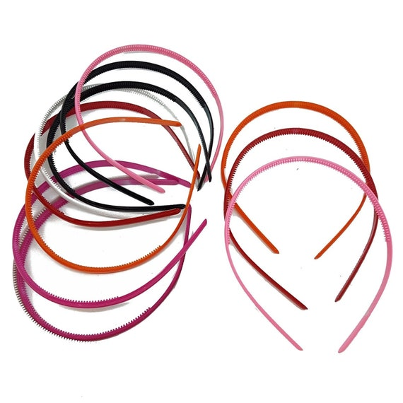 Twin Pack Narrow 1cm Red Satin Headbands Alice Hair Bands