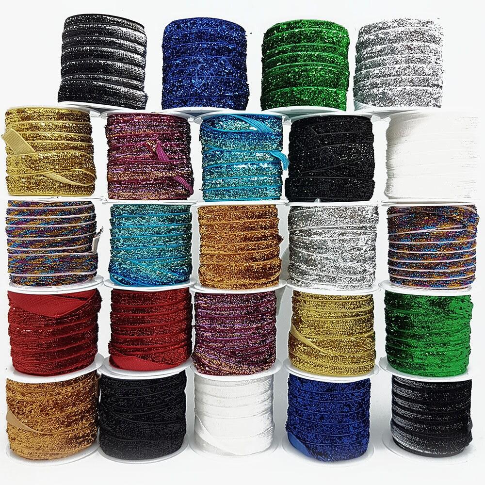Garniture de paillettes velours 12 rouleaux de 2,5 mètres chaque de rouleau de chaque garniture à coudre ruban 10mm eb05fb