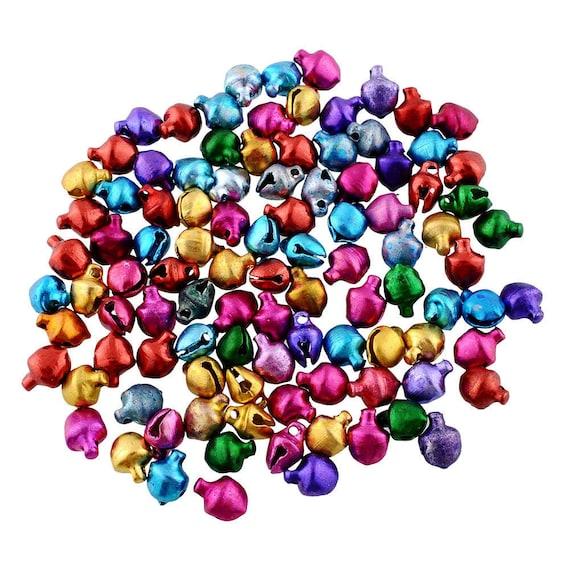 3//8 Inch 10mm Multi-Colored Aluminum Mini Jingle Bells  charms 80 Pieces