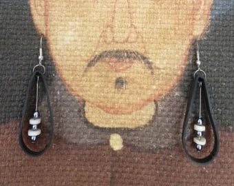 Mothers day gift idea. Recycling. Inner tube earrings. Recycled jewelry.