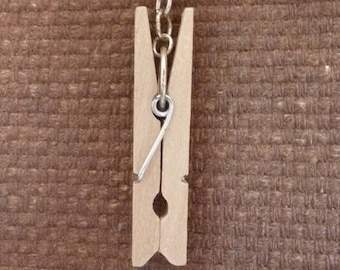 Pendant made of wood clothespin. Upcycling.