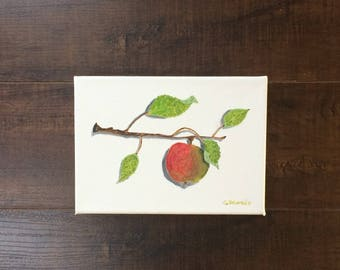 Oil painting on canvas still life Apple on branch