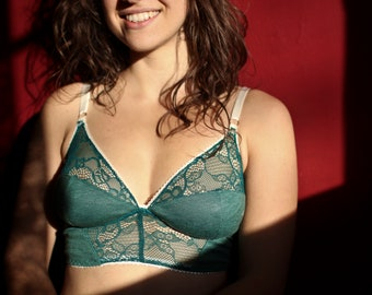 Green Linen and lace Soft Cup Bra b9017a46f