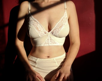 Cream Linen Soft Cup Bra with Ivory Lace 29971581e