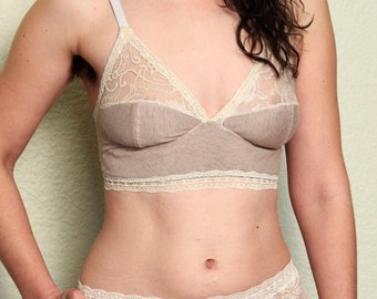 Beige Linen Soft Cup Bra with Ivory Lace, Custom Lingerie
