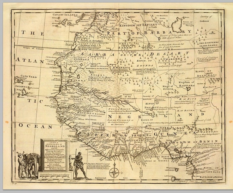 1747 British Map Kingdom of Judah West Africa. | Etsy