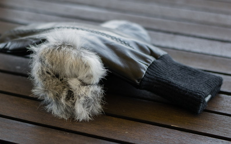 BLACK nappa leather RABBIT FUR lined Leather Mittens