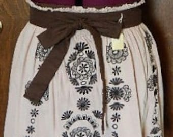 Up-cycled, Tan & Brown Embroidered Apron