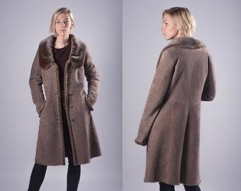 b7969fb7097 Real Sheepskin Fur Tan Brown Coat Winter Coat Womens Long