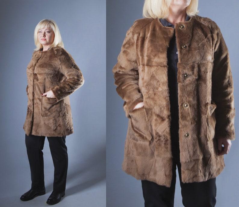 45ee05fbb58 Brown Plus Size Women Sheepskin Fur Coat Plus Size Coat Real