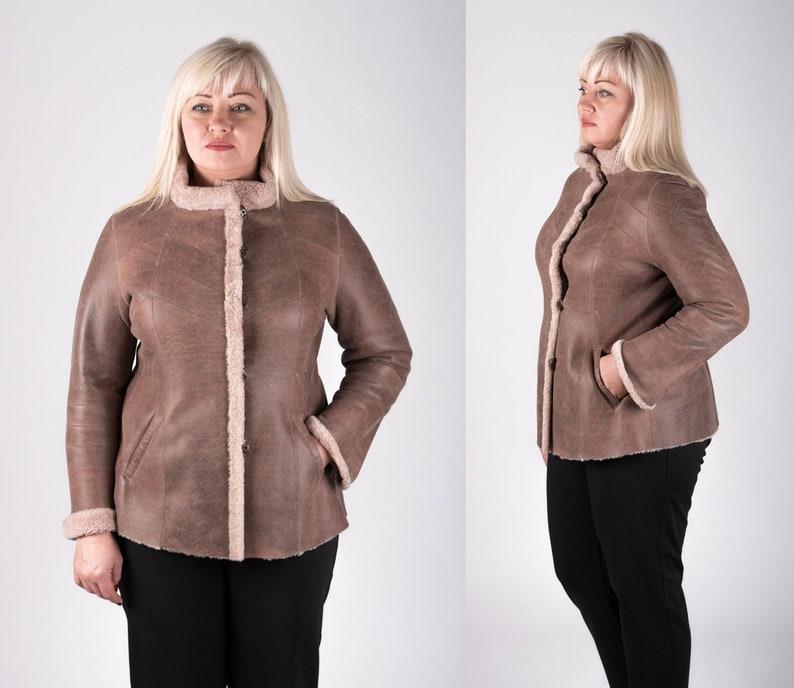 30974cf8662 Plus Size Lambskin Shearling Jacket for Women Real Sheepskin