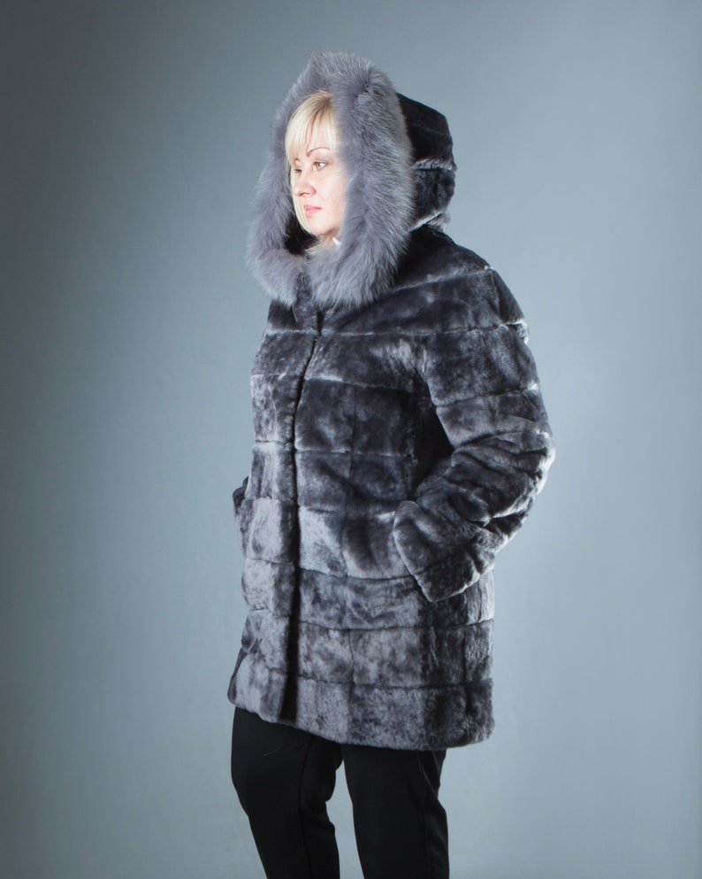 99e6ee22991 Plus Size Hooded Gray Real Fur Coat Mouton fur Coat Grey