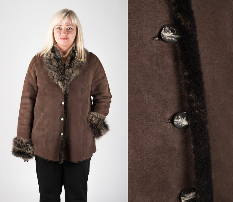 1b794c685ce Plus Size Sheepskin Shearling Fur Jacket for Women Warm Real