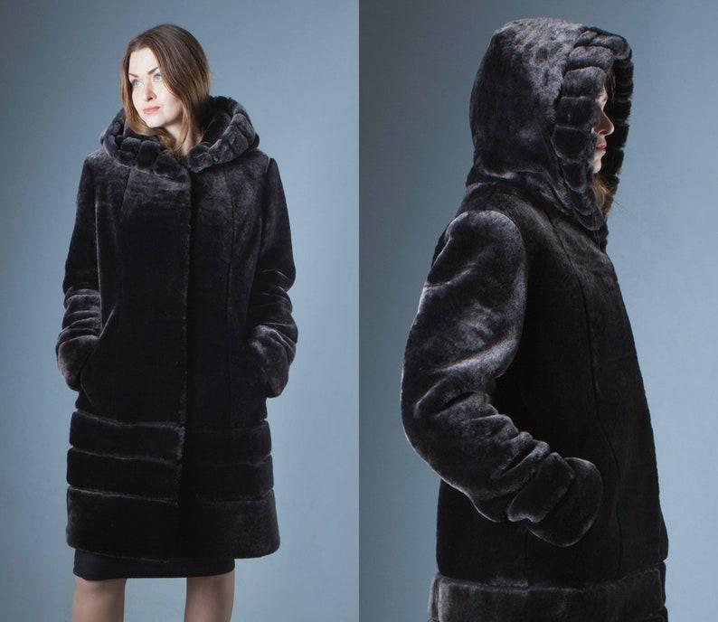 6b553207363 Handmade Hooded Gray Mouton Fur Coat Lambskin fur Coat