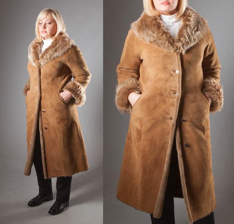 77eb65f65a3 Plus Size Real Sheepskin Fur Shearling Coat in Tan Brown