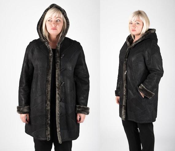 ec0b7a9d77b Plus Size Real Sheepskin Fur Coat for Women Warm Long