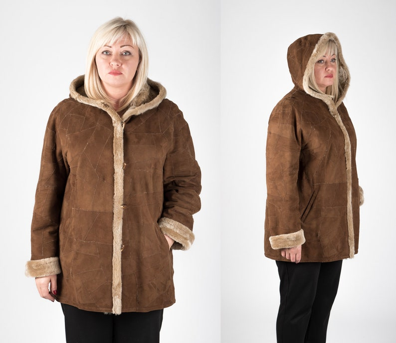 99daae50b6e Plus Size Shearling Afghan Coat for Women Warm Real Sheepskin