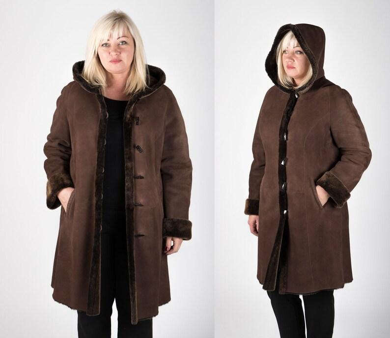 d2198e57757 Plus Size Sheepskin Shearling Coat for Women Hooded Warm Long