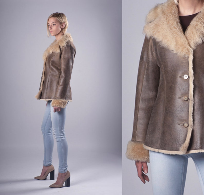 457b1a8f7a7 Real Sheepskin Fur Leather Women Coat Jacket Gray Brown Short