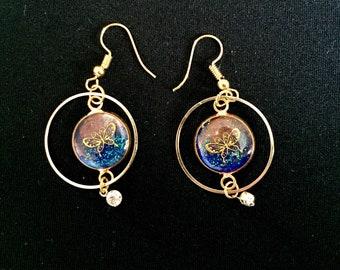 Earrings resin Handmade jewelry design.