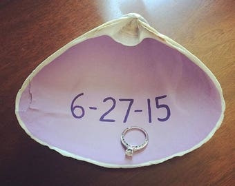 Handpainted seashell with wedding date