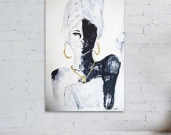 Black african woman, digital file download, instant download art
