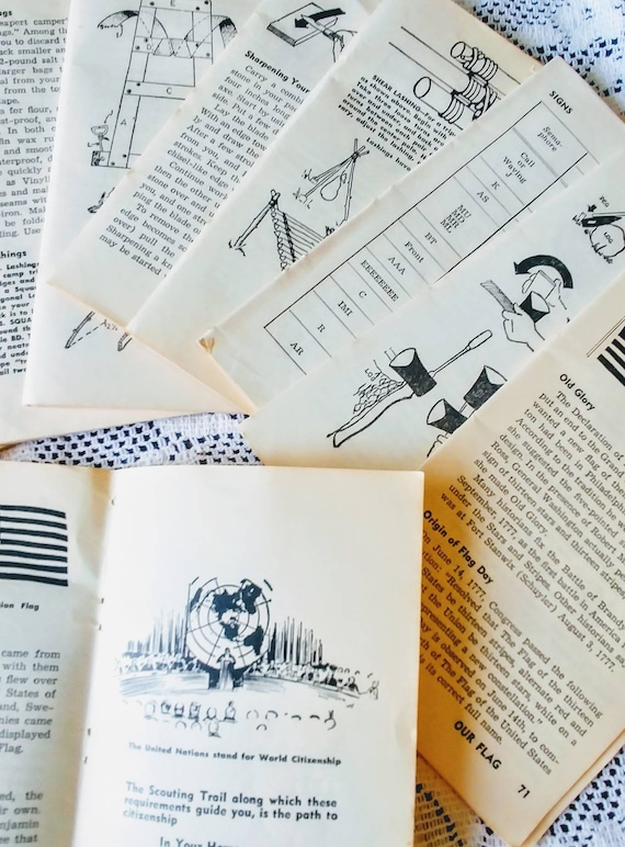1940/'s Scout Leader Handbook double pages for crafting!