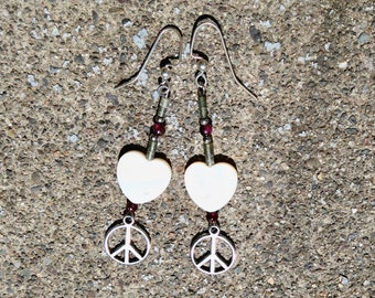 Hearts and Pearls Earrings, Peace and Hearts, Garnet and pearl Hearts