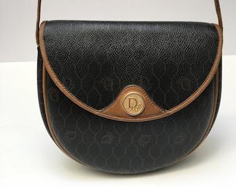 Vintage Authentic Christian Dior Black Honeycomb Canvas Shoulder Crossbody Purse  Bag fffa8d63d9