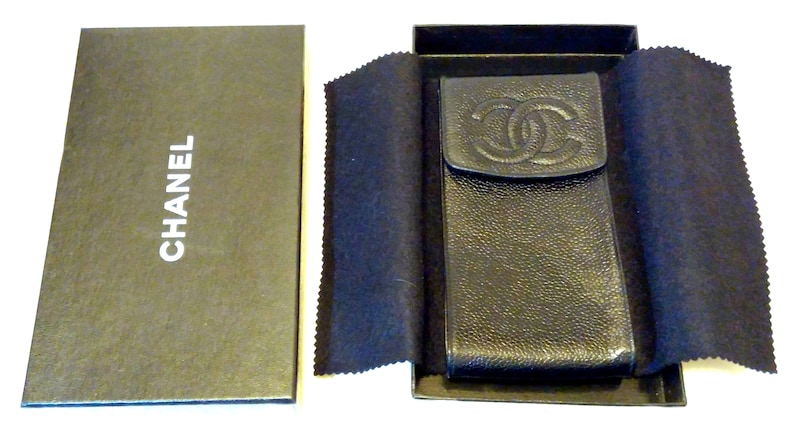 b2994f3b642d Chanel Caviar Leather Case Pouch Chanel CC Logo Excellent For | Etsy