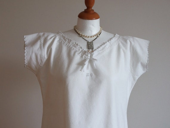 French vintage linen dress, white metis linen dres