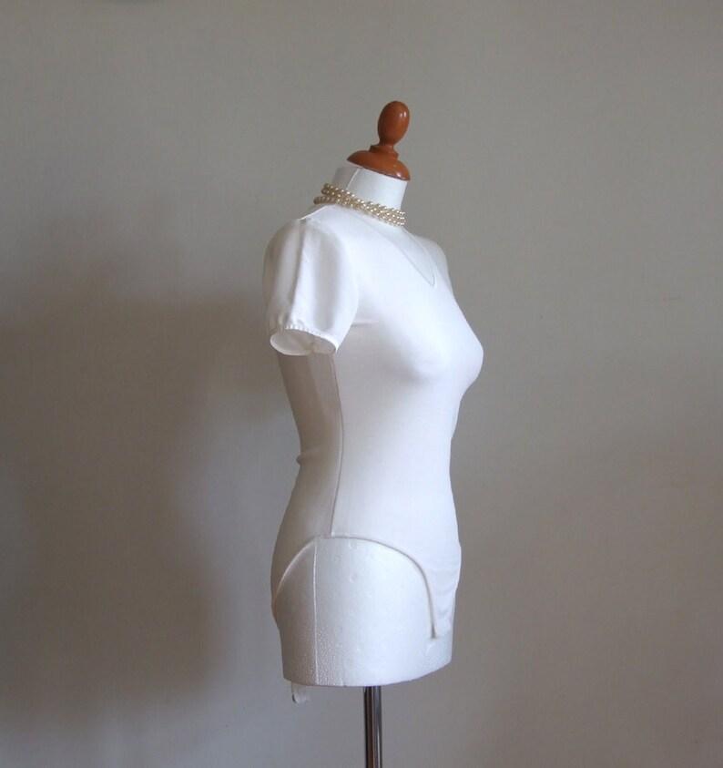 d90d5670eb T shirt bodysuit vintage bodysuit white bodysuit vintage V | Etsy