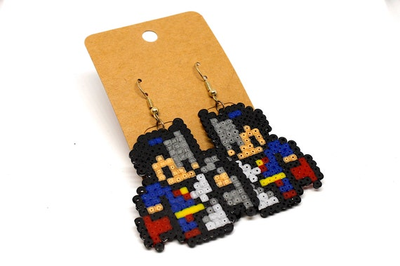 Pearls Pixel Art Hama Mini Geek Batman Superman Earrings Fancy Earrings