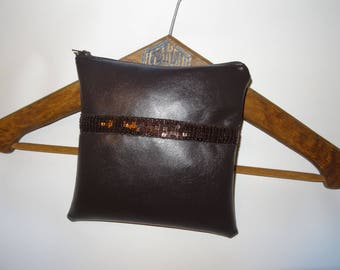 Small clutch in Brown faux leather, Brown, square sequin Ribbon