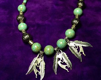 Native American Kokopelli Feather Speckled Turquoise Beaded Necklace