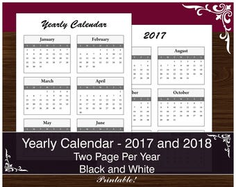 Yearly Calendar - Printable PDF - 2017 and 2018 - Year on 2 Pages - Minimalist