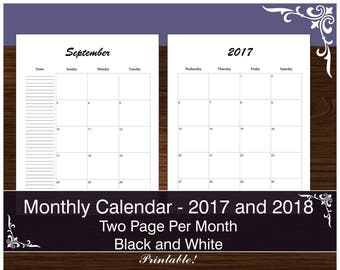 Minimalist Monthly Calendar for 2017-2018 - 2 Pages per Month - Printable PDF - Letter - Black and White