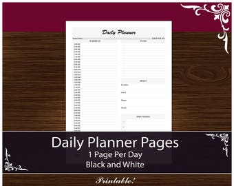 1 Page Per Day - Daily Undated Planner, Printable PDF - Complete Daily Planner! Black and White