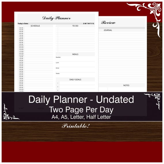 2 pages per day daily undated planner printable pdf stay etsy
