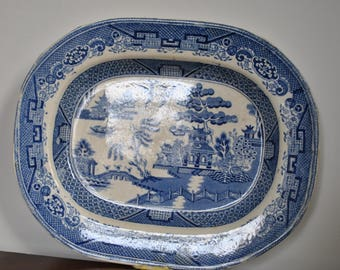 Antique Victorian Willow pattern ironstone dish from the mid 19th century.
