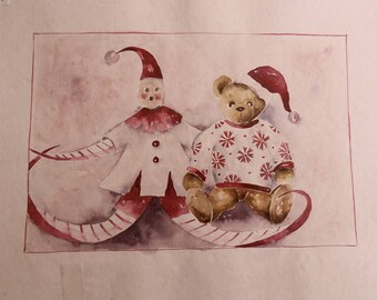 original watercolor painting for children: the puppet and the teddy bear in Christmas dress