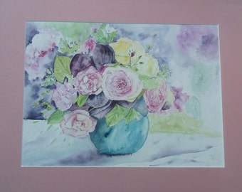 original watercolor still life flowers: roses bouquet