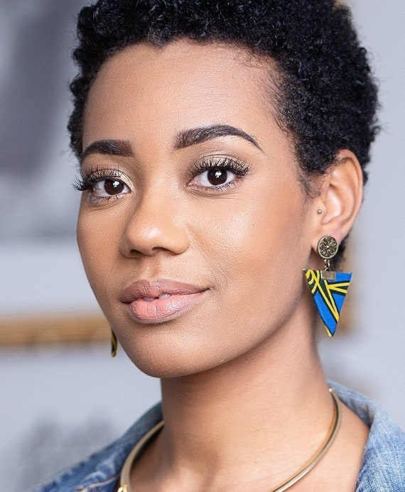 Tari Bina necklace  African fabric  shape  women  blue and yellow